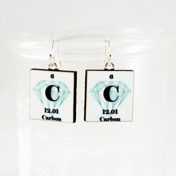 Diamond Earrings Science Chemistry Jewelry  by ShopGibberish, $20.00