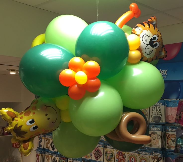 #Dzsungel állatos #lufi #design, amely #gyerek partykon vagy gyereknapon díszítheti a helyszínt.  #lufiállat #gyereknap