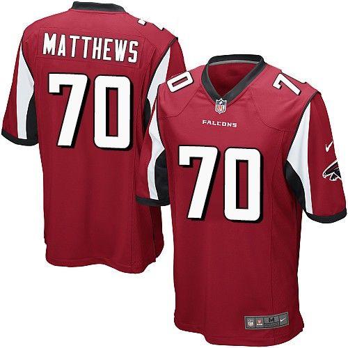 $24.99 Nike Game Jake Matthews Red Youth Jersey - Atlanta Falcons #70 NFL Home