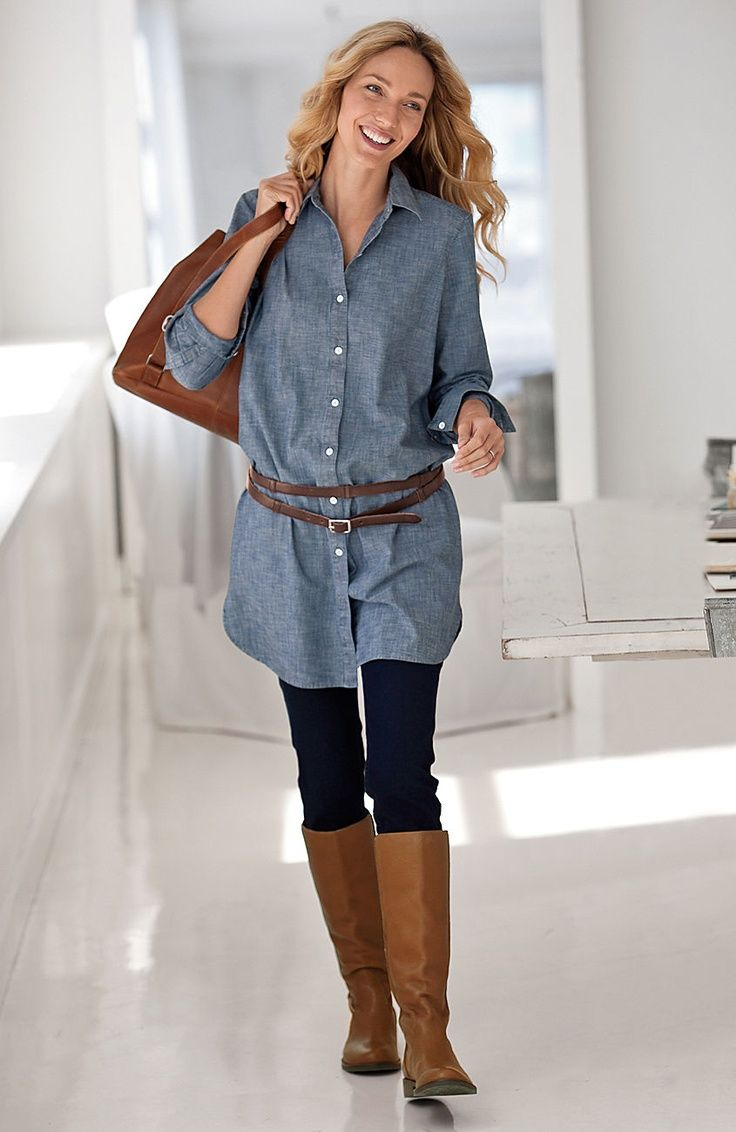denim-tunic-and-leggings--shirt-dress- I like this look but could I pull it off with the belt?