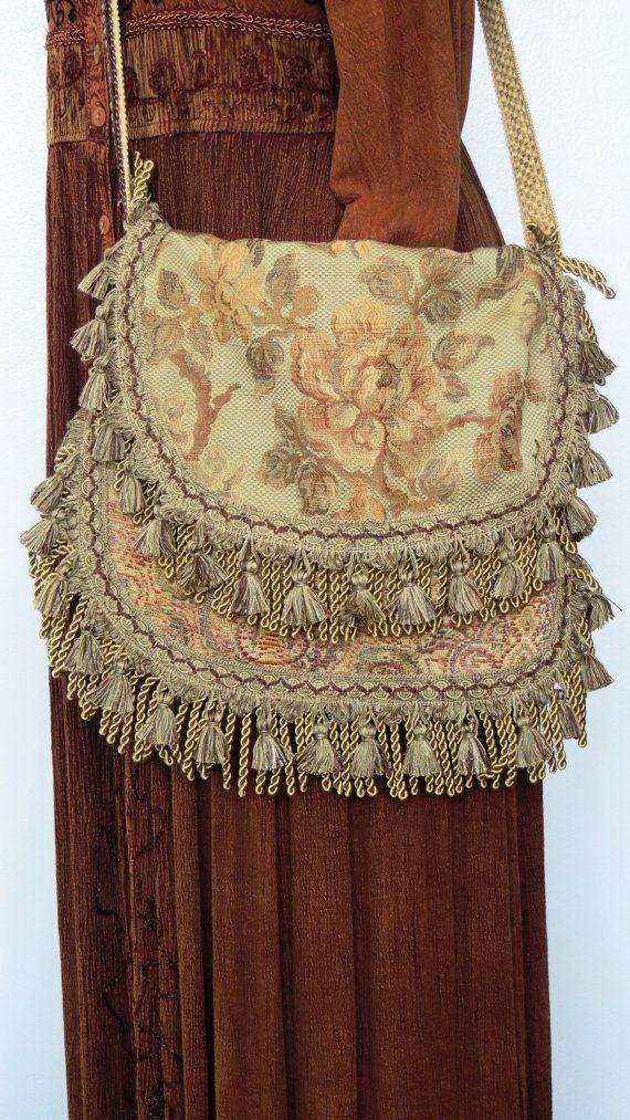 Large bohemian tapestry bag, Fringed hippie bag, floral tapestry bag, romantic bag purse