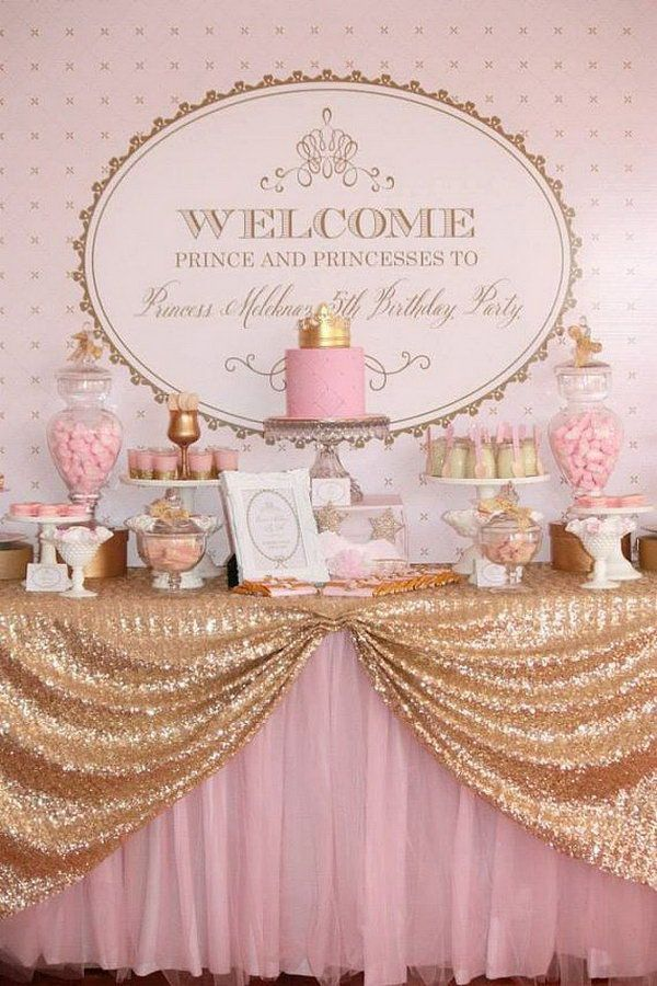 Princess Pink and Gold Royal Backdrop. The pink and gold royal backdrop set up the tone for this party theme. All the detailed favors and decorations highlight the royal flavor for this party from the glittering gold table cover to the crown cake topper.