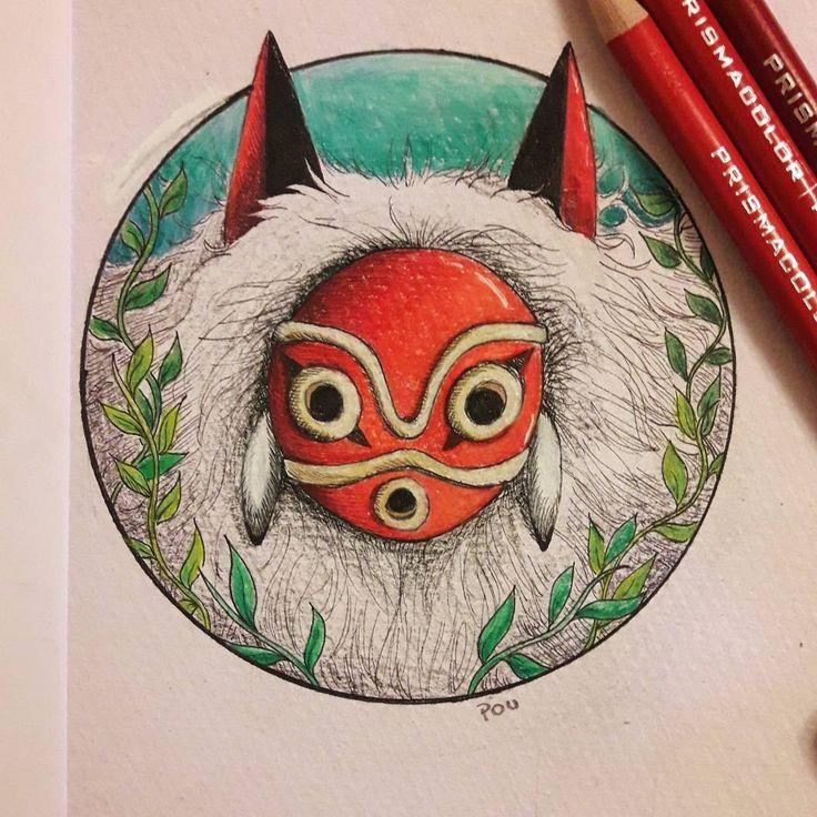 (@poucalabaza) princesa mononoke, prismacolor art