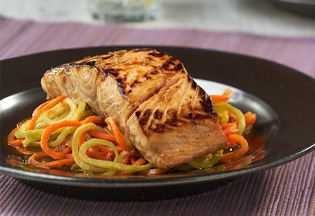 Spiralized carrot and broccoli 'noodles' replace traditional pasta in this Asian inspired dish. Soy, honey, and ginger flavor both the salmon and the broth that you use to cook the 'noodles' . Be sure to cook the veggie noodles until just tender so they still have nice firm texture yet soak up the delicious flavor …