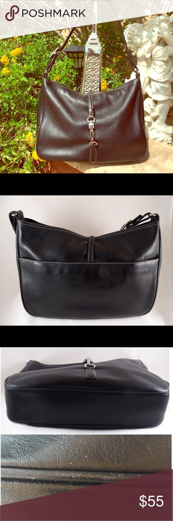 """Vintage Coach """"Hampton"""" Leather Hobo Shoulder Bag Classic vintage Coach """"Hampton"""" shoulder Hobo bag in black leather and contrasting stitching. An over-the-top strap closure in nickel hardware, engraved with Coach, on the pinch clasp. Exterior side pocket, an interior side zipper pocket, and lined with quality brown fabric lining. Dimensions in pic, and measure 11.5""""x8.5""""x2.5"""" with adjustable shoulder strap, 19"""". Great pre-owned condition with normal leather wear on bottom piping edge(see…"""