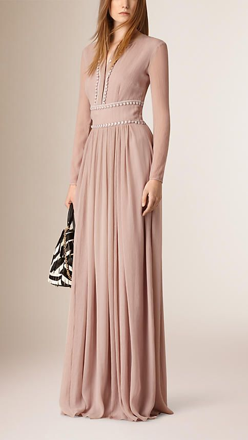 Nude blush Vestido comprido de crepe de seda com acabamento de renda - Imagem 1