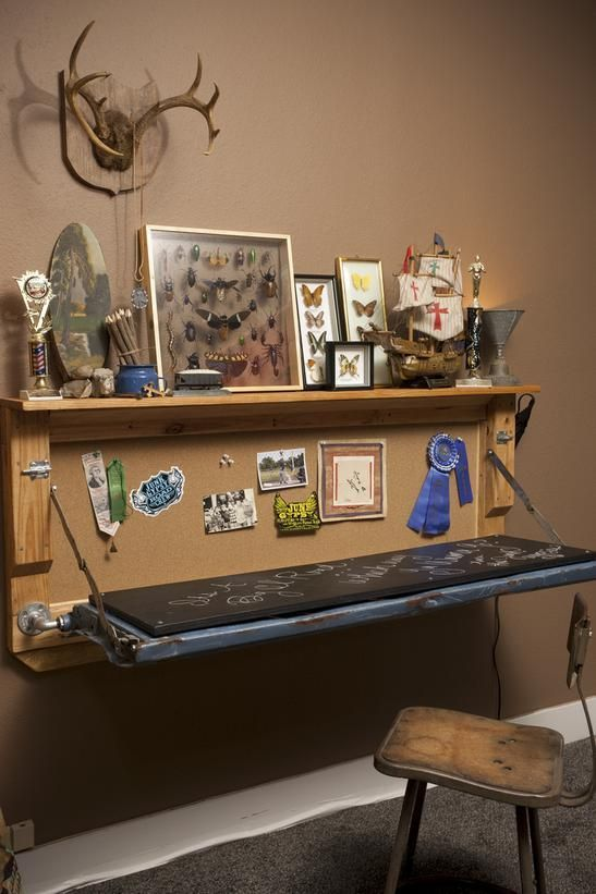Ideas For Creating Upcycled Tables, Desks and Workstations: This former truck tailgate has been refurbished into a desk for a youngster's adventurous room. A rustic office chair ties the space together. rom DIYnetwork.com