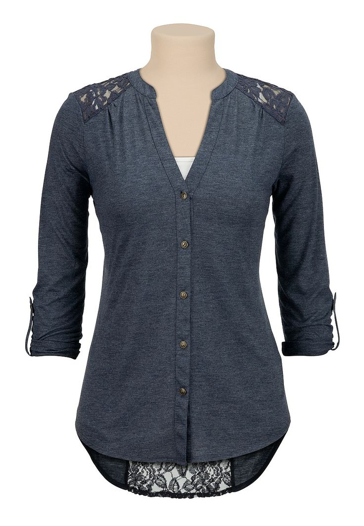 high-low lace back button down top - maurices.com