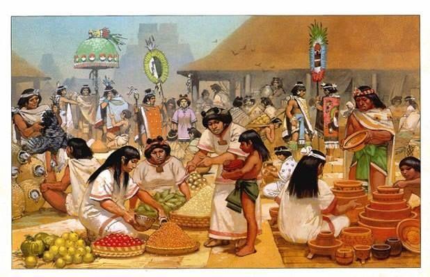 Angus McBride - Aztecas de la época de Moctezuma: el mercado de Tlatelolco en Tenochtitlán.