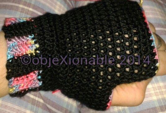 Black and pastel rainbow crochet wristies/fingerless mittens