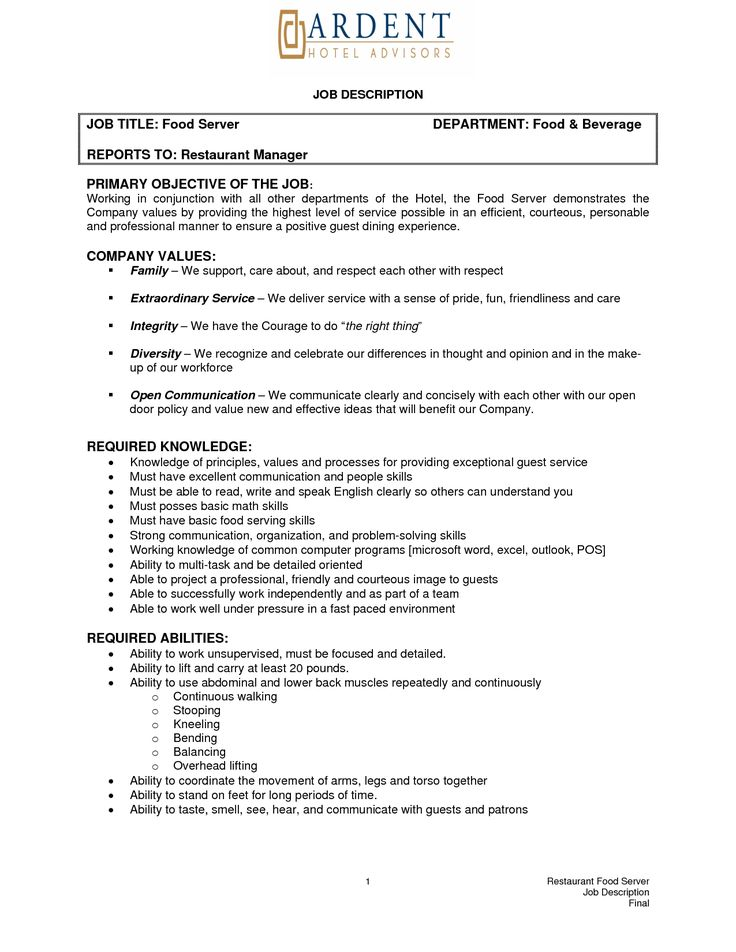 Job Descriptions 4 Resume Examples Sample Resume Resume Server