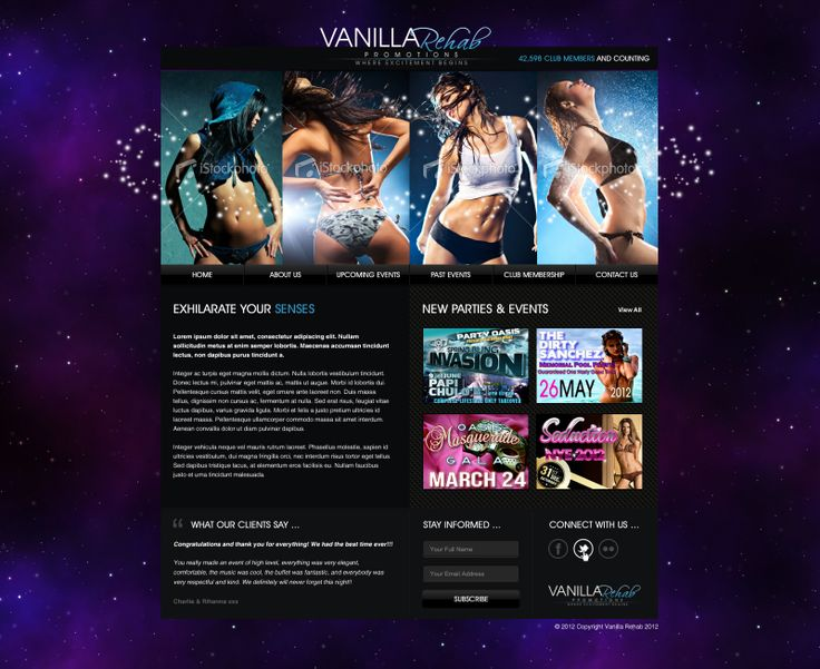 Vanilla Rehab #nightclubdesign, responsive website design for a gentleman's club.