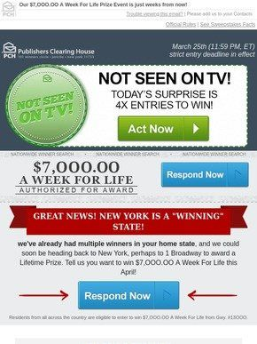 Publishers Clearing House Email Newsletters: Shop Sales