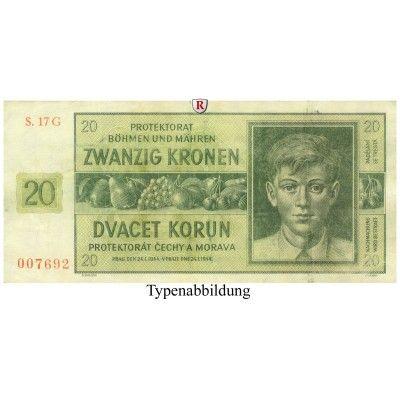 Besatzungsausgaben des 2. Weltkrieges 1939-1945, Böhmen und Mähren, 20 Kronen 24.01.1944, III, Rb. 563g: 20 Kronen 24.01.1944. Serie… #coins