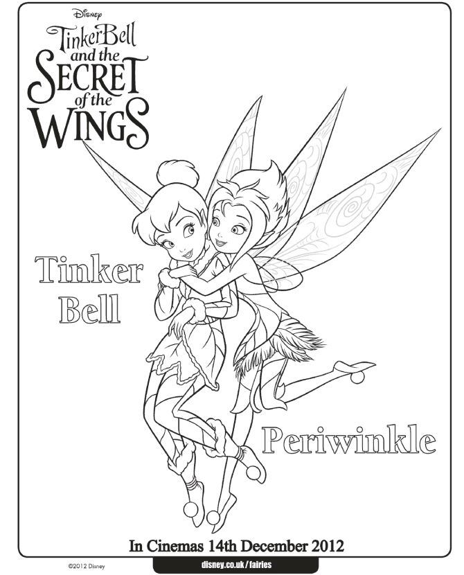 tinkerbell christmas coloring pages - tinker bell and periwinkle coloring pages at www