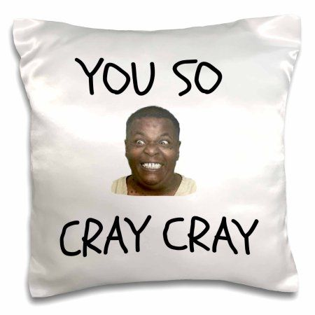3dRose cray cray, black letters on white background with funny face picture, Pillow Case, 16 by 16-inch
