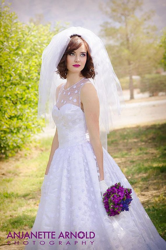 polka-dot wedding dress