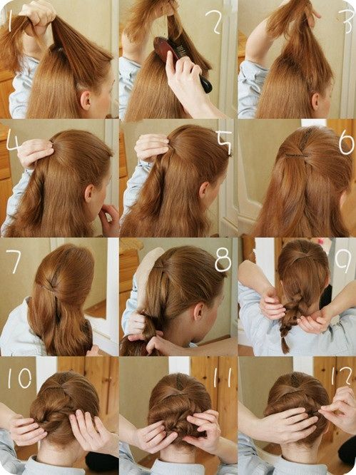 Easy Twist-Back Bun~ Step-by-Step