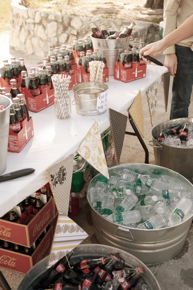 Sweets Table: Love is sweet, have a treat! Add coke and root beer to the table as signature bride and groom drinks.