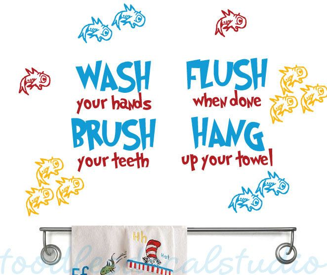 Dr Seuss Inspired Fish Bathroom Rules Kids Vinyl Wall Decal Sticker