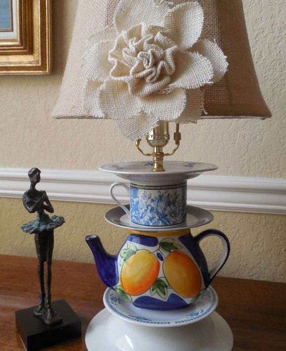 Vintage teacup and teapot lamp, yellow, blue, white, stacked teacup lamp by CarolSchiffStudio on Etsy
