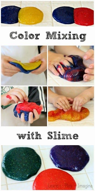 Learning about primary and secondary colors with homemade SLIME - exploring color theory through fine motor play.