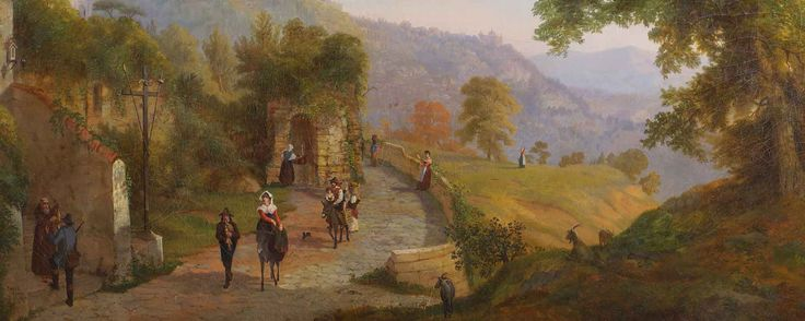 "#MarchAuction26 Preview ""Veduta di Ariccia  con personaggi"" (View of Ariccia with figures) by Joseph C. Ropes (USA 1812-1855), oil painting, signed and dated 1860"