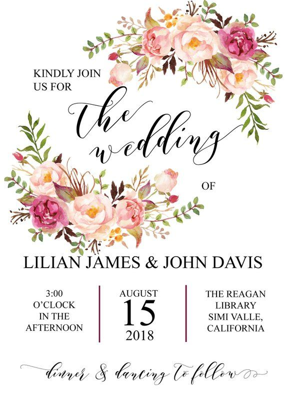 Blush Peony Wedding Invitation Template Watercolor Peony Wedding