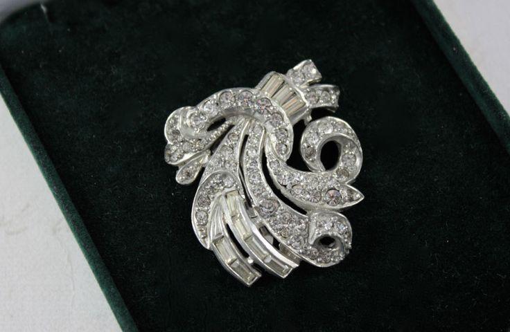 Vintage Pave Rhinestone Dress Clip Clear Diamante Art Deco Scrolls