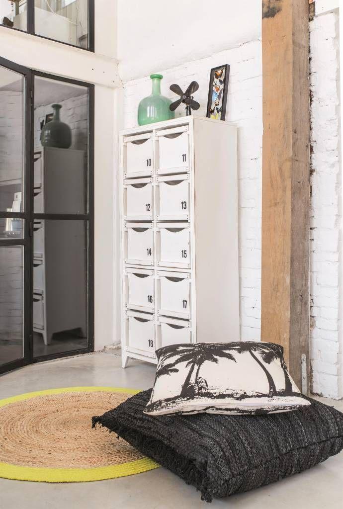 HK Living Zwart Lederen Vloerkussen - 80xH80 cm - Sweet Living Shop