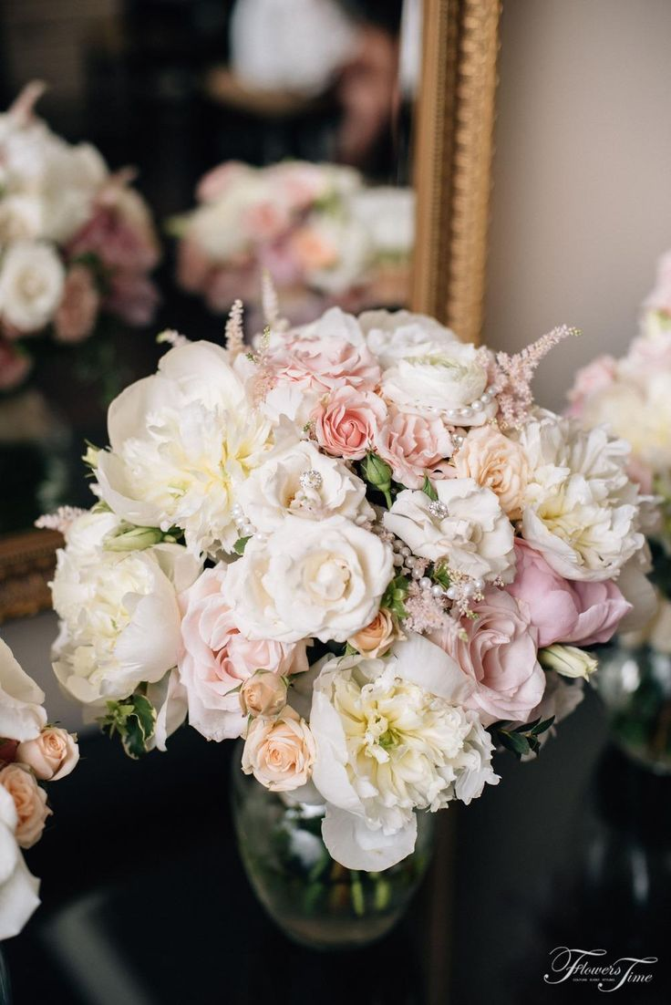 Amazing White roses and peonies mix bridal bouquet by Flowers Time