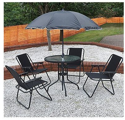 KINGFISHER 6 PIECE OUTDOOR GARDEN PATIO ROUND PARASOL BASE UMBRELLA TABLE u0026 4 FOLDING MESH CHAIRS & 18 best Cheap Folding Tables images on Pinterest | Folding tables ...