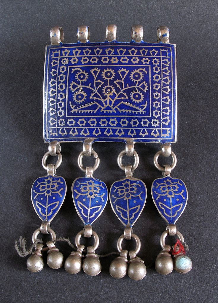 Pakistan | Old silver with blue enamel from Multan (Madinat-ul-Awliyah: the City of Saints). | Early 20th century