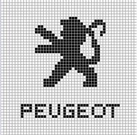Peugeot logo x-stitch