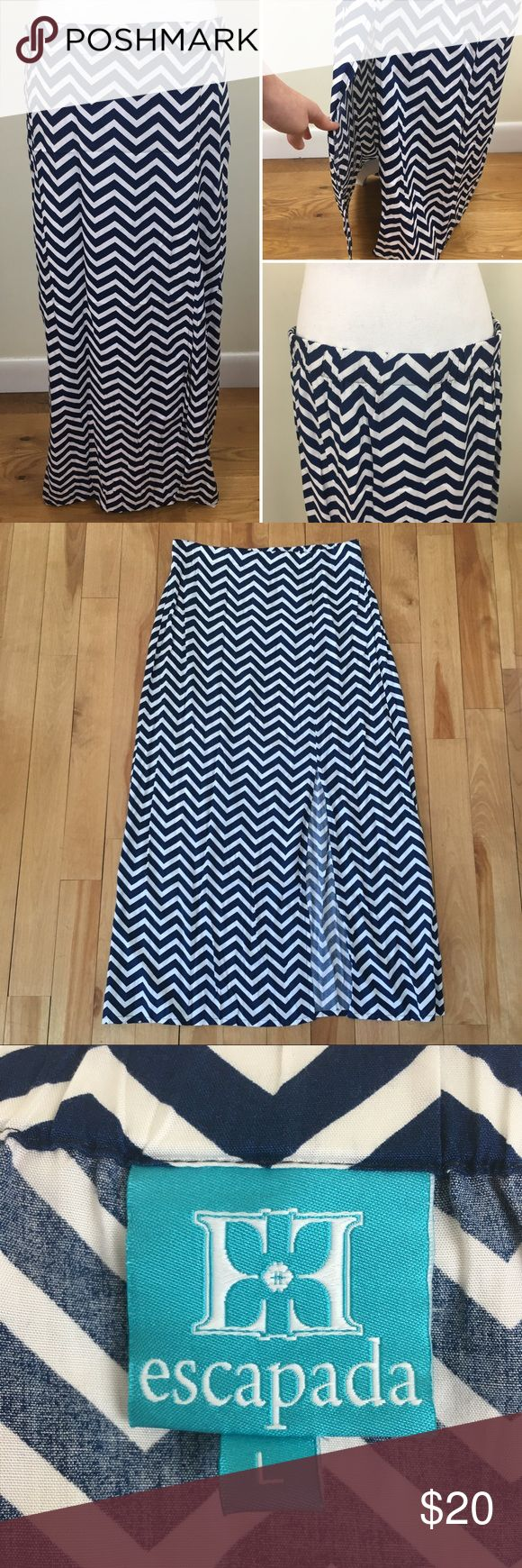 "Escapada Blue and White Chevron Maxi skirt This navy blue and white maxi skirt from Escapada features an elastic waist in the back and a slit in the front side. Size: Large. Waist: 17"" - 19"". Length: 39"". Escapada Skirts Maxi"