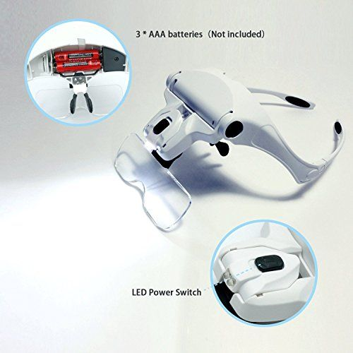 Headband LED Illuminated Head Magnifier Visor Magnifying Glass Lens LED Light Lamp Visor Head Loupe for Reading, Jewelry Loupe, Watch & Electronic Repair  INTERCHANGEABLE LENS DESIGN: Switch between 5 optical lenses using a simple click and release system. Magnification power: 1X, 1.5X, 2X, 2.5X, 3.5X  COMFORTABLE AND STYLISH: Lightweight ergonomic frame with soft padding suitable for all head sizes. Fits over your reading glasses.  VERSATILE: Best for examining intricate details in en...