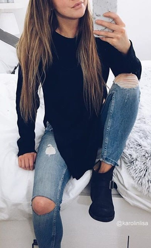 LBS Amazon // Create a cool casual fall outfit with the help of this black side-slit tunic sweater.