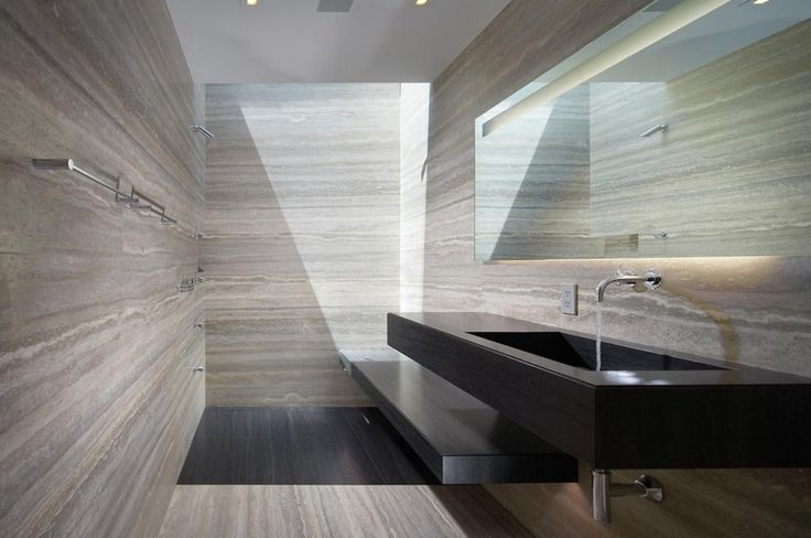 Bathroom Design: Good Looking Travertine Bathroom Designers Walls With Contemporary Black Wall Mounted Vanity Sink Also Frameless Mirror Inspirations, bathroom renovation cost, bathroom trends ~ workdon