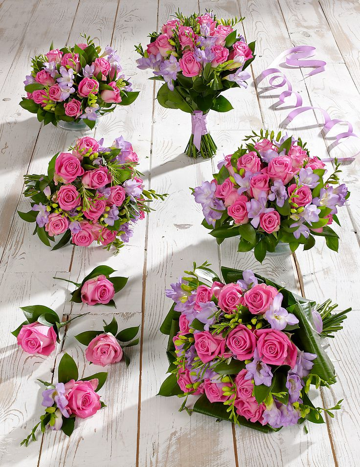 Pink Lilac Rose Freesia Wedding Flowers Collection 3