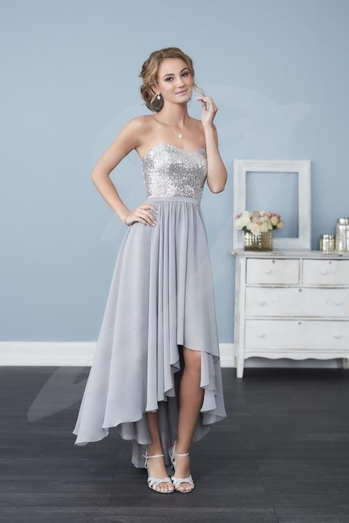 Balletts Bridal - 24200 - Bridesmaids by Jacquelin Bridals Canada - A fully sequined, strapless bodice pronounced by a sweetheart neckline and accented by a thin chiffon belt streams into an elegant hi-low skirt. Pictured in: Silver/Platinum