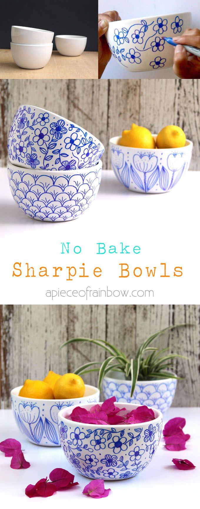 DIY No Bake Sharpie Art Bowls: Create beautiful hand drawn designs on white bowls or mugs using a Sharpie marker. Detailed video tutorials! No bake, try this better finishing method! - A Piece Of Rainbow