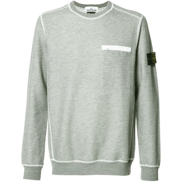 Stone Island crew neck sweatshirt ($330) ❤ liked on Polyvore featuring men's fashion, men's clothing, men's hoodies, men's sweatshirts, grey, mens crew neck sweatshirts, mens crewneck sweatshirts, mens grey sweatshirt and mens grey crew neck sweatshirt