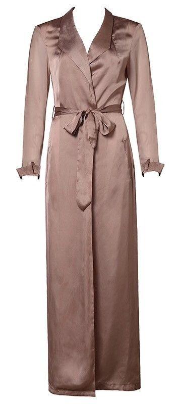 - Luxury silk blend - Removable silk tie belt - Sheer chiffon sleeves