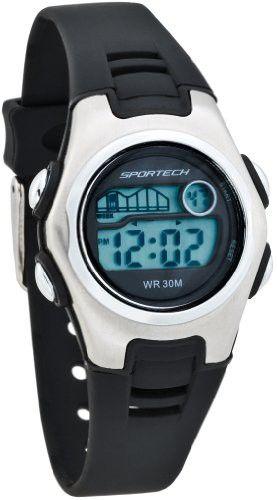 Sportech Women's | Black & Silver Racer Digital Sport Watch | SP10204