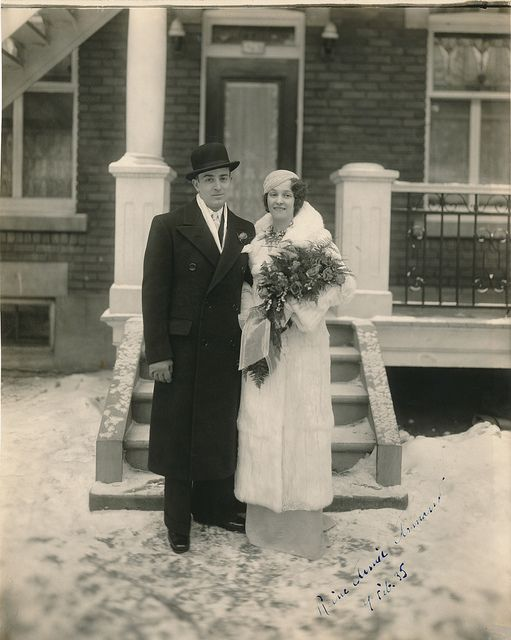 Such an elegant winter wedding in Montreal! Armand & Lise Desroches, February 1935.