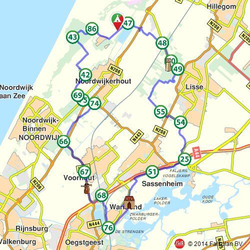 Fietsroute: Noordwijkerhout, Lisse en Warmond (http://www.route.nl/fietsroutes/123776/Noordwijkerhout-Lisse-en-Warmond/)