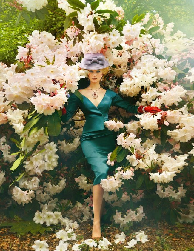 """❀ Flower Maiden Fantasy ❀ beautiful photography of women and flowers - """"Behind the Hedgerow"""" by Ruven Afanador for Town & Country Magazine September 2013"""