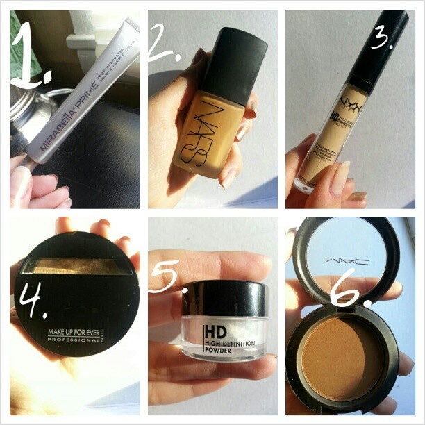 My flawless foundation routine: mirabella primer 2. Nars sheer glow foundation 3. nyxcosmetics concealer 4. makeupforever powder 5.makeupforever HD powder 6. contour if necessary