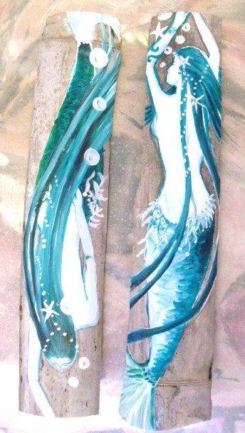 Pair of Original Art Hand Painted  Mermaids on Bamboo- Beach Decor Coastal Decor - Custom Color on Etsy, $38.00