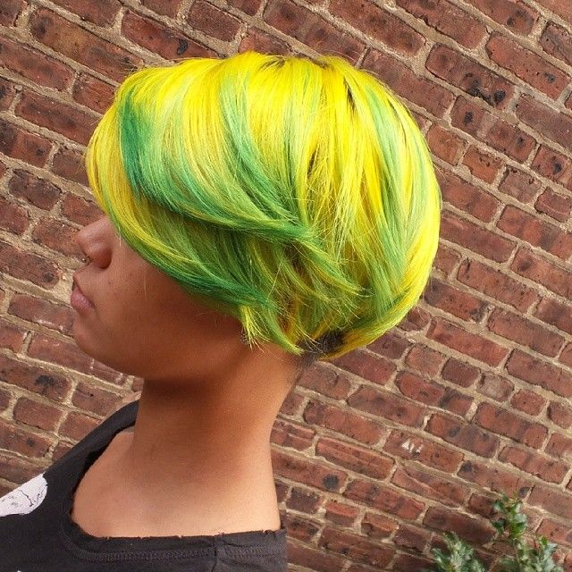 Come in to your next appointment with master colorist Christine and let her make your next hair color idea become reality. Try something new and fun! #elumen #goldwell #fashion #celebrityhair #fantasyhair #njsalons #yellowandgreenhair #daring #funhair #hairlovers #cosmetologist #popular #vividhair # electricyellow #brightgreen #pineapple #instagood #talented #cphairdesign #followus #gorgeous